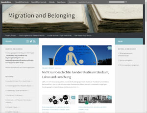 "Screenshot: Blog ""Migration and Belonging"" mit dem Theme Hueman"