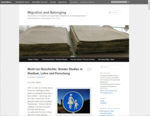 "Screenshot: Blog ""Migration and Belonging"" mit dem Theme Twenty Eleven"