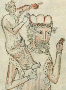Auf dieser Zeichnung (Grau- und Rottöne auf hellem Grund) sitzt eine kleinere Figur auf den Schultern einer größeren Person, die eine Krone trägt. Beide weisen mit ihren Händen nach rechts.